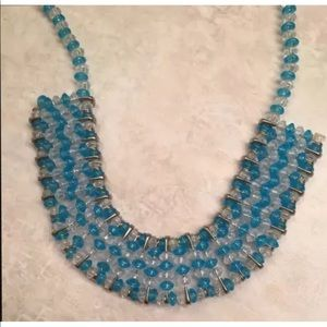 Blue Turquoise Safety Pins Handmade Necklace